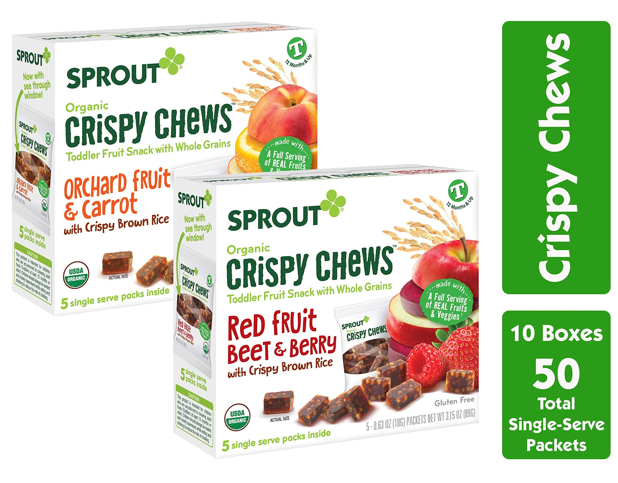 Sprout Organic Crispy Chews Toddler Snacks, Variety Pack, 5 Count boxes of 0.63 Ounce Single Serve Packets (Pack of 10 Boxes) 5 Boxes Each: Red Berry & Beet and Orchard Fruit & Carrot by Sprout