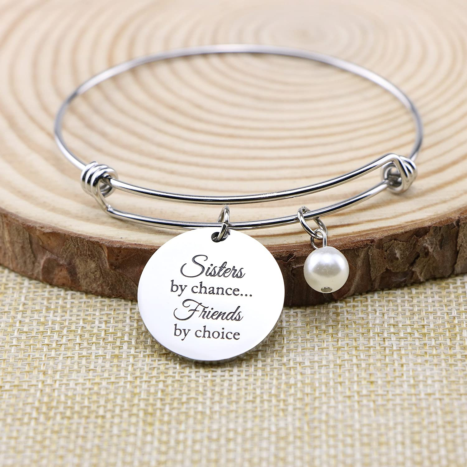 Yiyang Sister Bracelet Cuff Engraved Personalized Friendship Gifts for Her