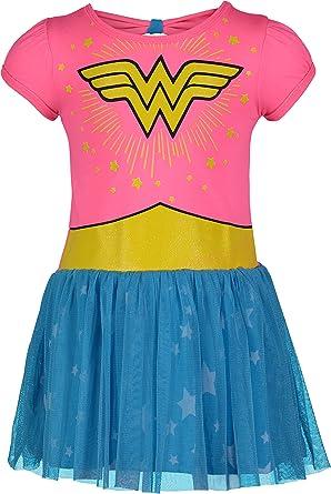 DC Comics Wonder Woman Vestido de Fiesta Tul para Niñas, Rosa y Azul