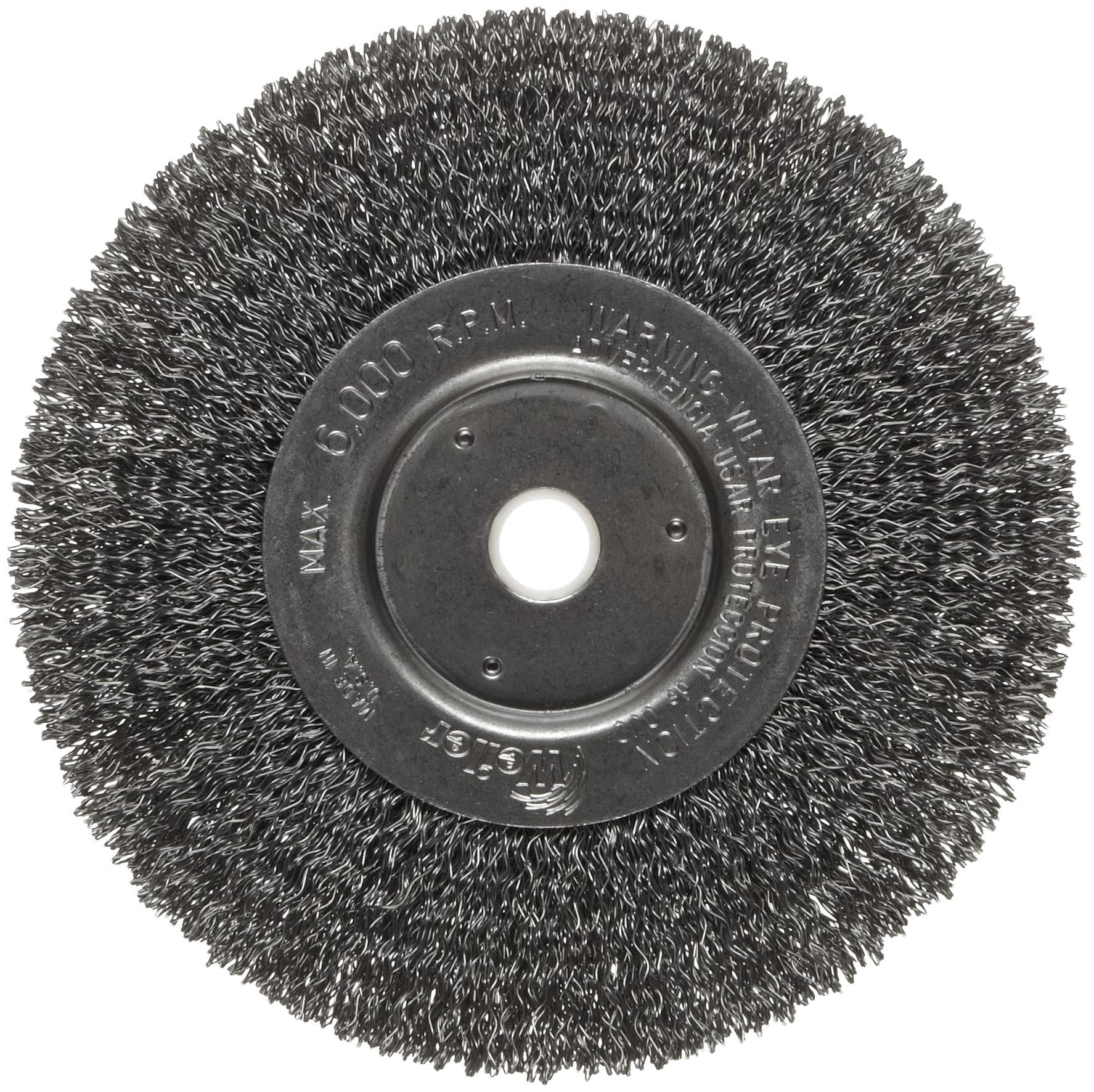 Weiler Trulock Narrow Face Wire Wheel Brush, Round Hole, Steel, Crimped Wire, 6'' Diameter, 0.014'' Wire Diameter, 5/8-1/2'' Arbor, 1-7/16'' Bristle Length, 3/4'' Brush Face Width, 6000 rpm