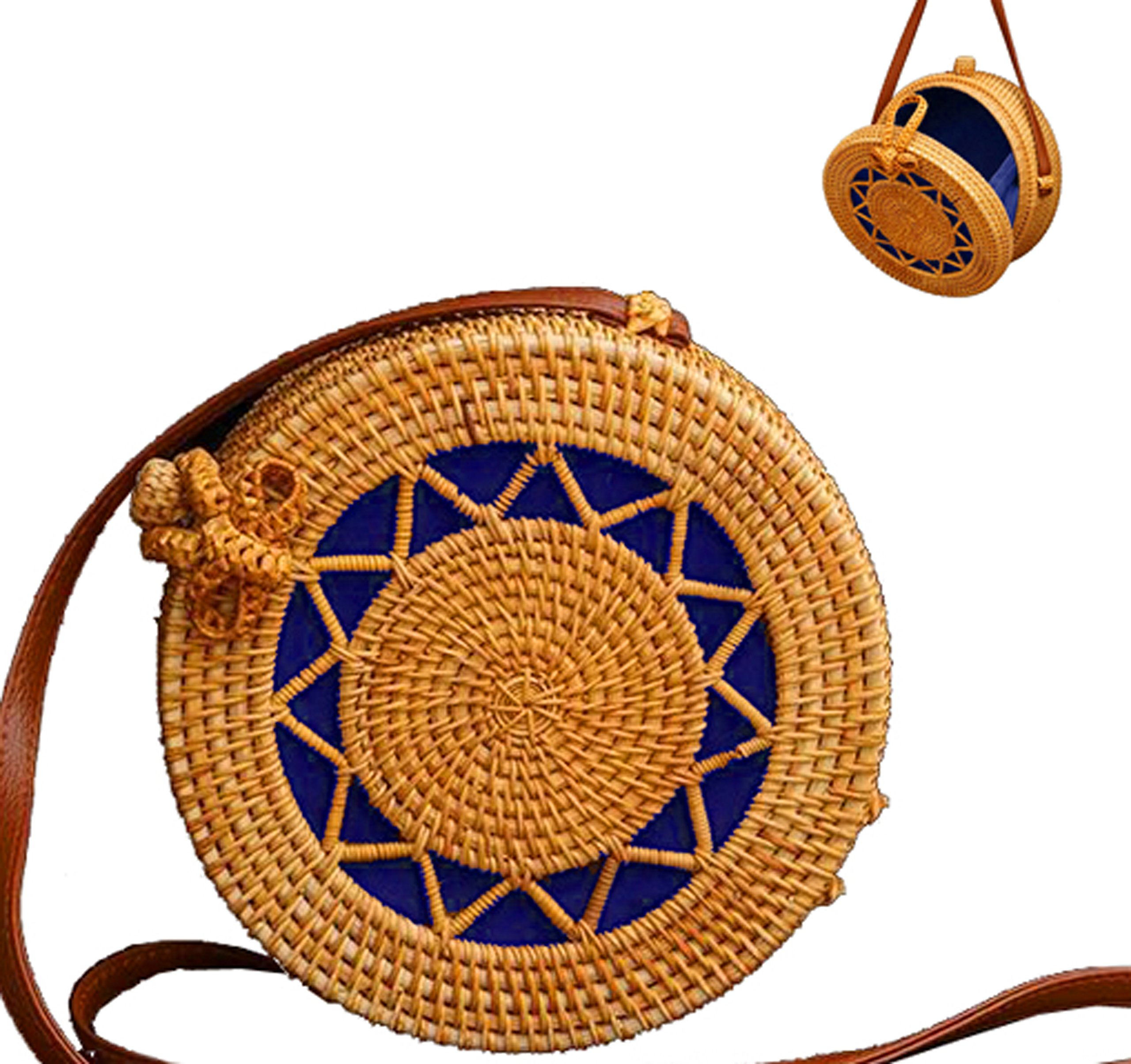 Women Handmade Round Woven Rattan Bag | Bohemian Shoulder Bag | Crossbody Straw Handbag (D: 7.9 in (L), Star)