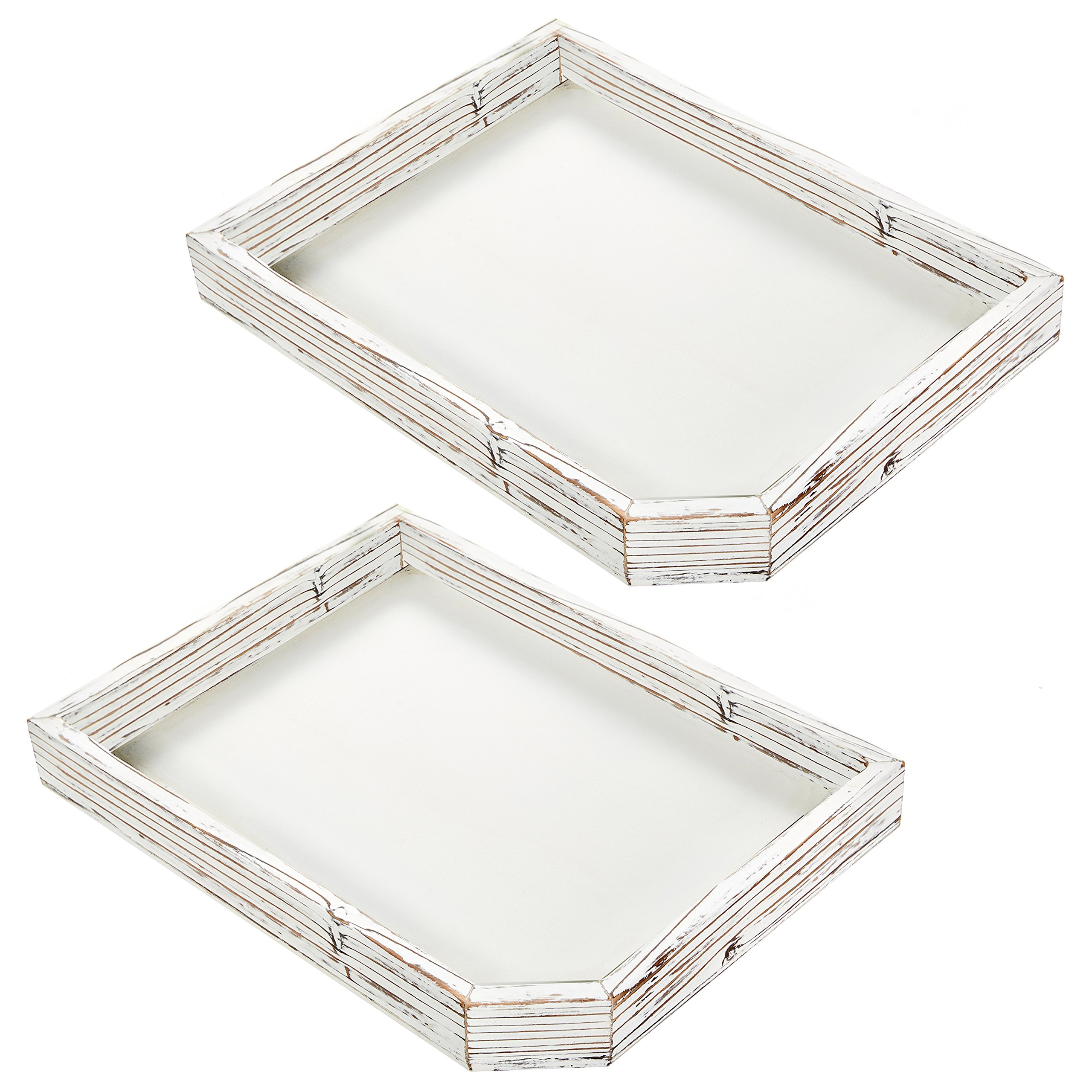 Set of 2 Distressed Whitewashed Wood Serving Trays, Farmhouse Style Coffee Table Display Tray