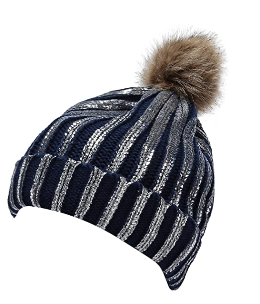 14f1cbc6dacda0 Jugofar Winter Chunky Knit Party Metallic Shiny Beanie Skull Pom Pom Cap  Navy Silver at Amazon Women's Clothing store: