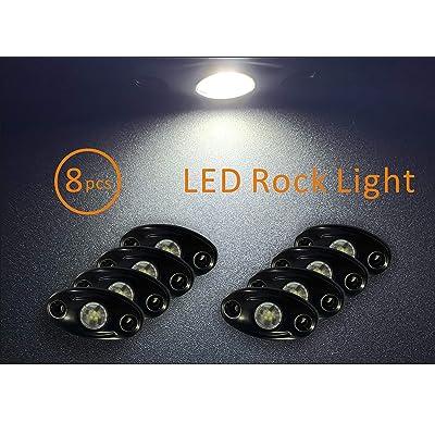 8 Pcs Rock Light 2 Inch CREE LED JEEP Wrangler Off-Road Under Wheel Light White Crawler Crawling: Automotive