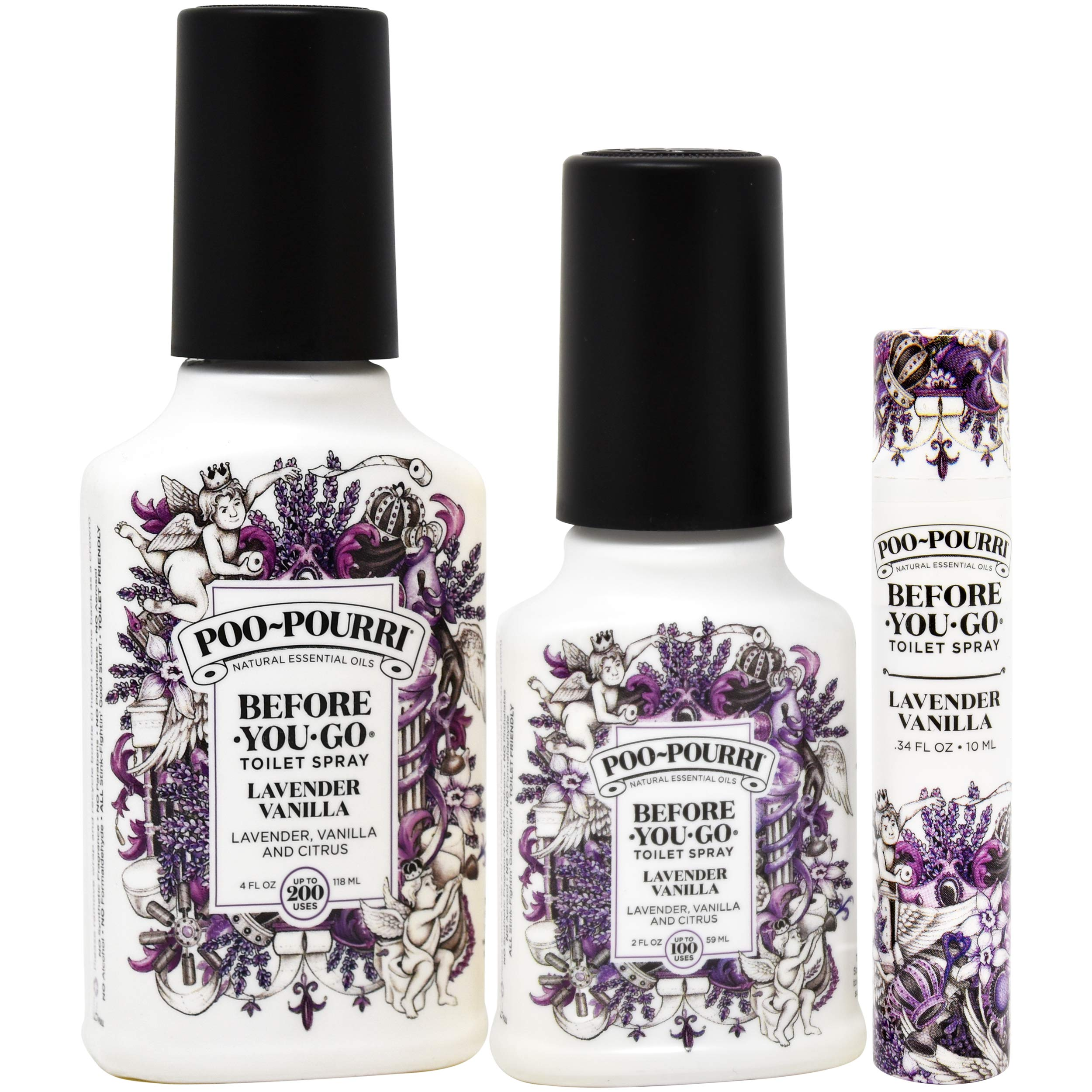 Poo-Pourri Lavender Vanilla 2 Ounce, 4 Ounce, Travel Size Spritzer, and Box by Poo-Pourri