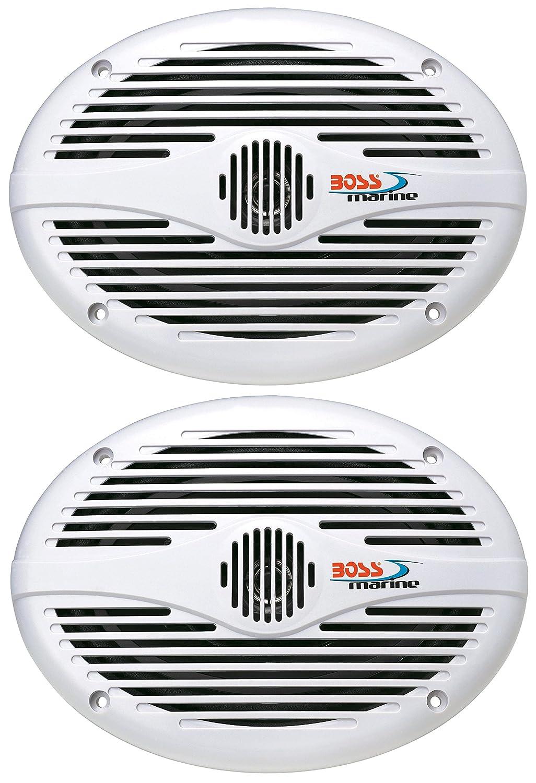 BOSS MR690 Speakers, 6'X9' 2-Way, 350 Watt, White 6X9 2-Way Seawide Marine