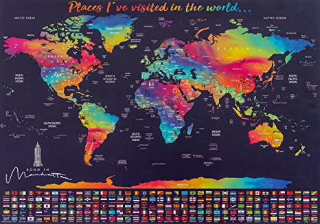 Amazon large unique scratch off world map poster with large unique scratch off world map poster with country flags free scratching tool gumiabroncs Image collections