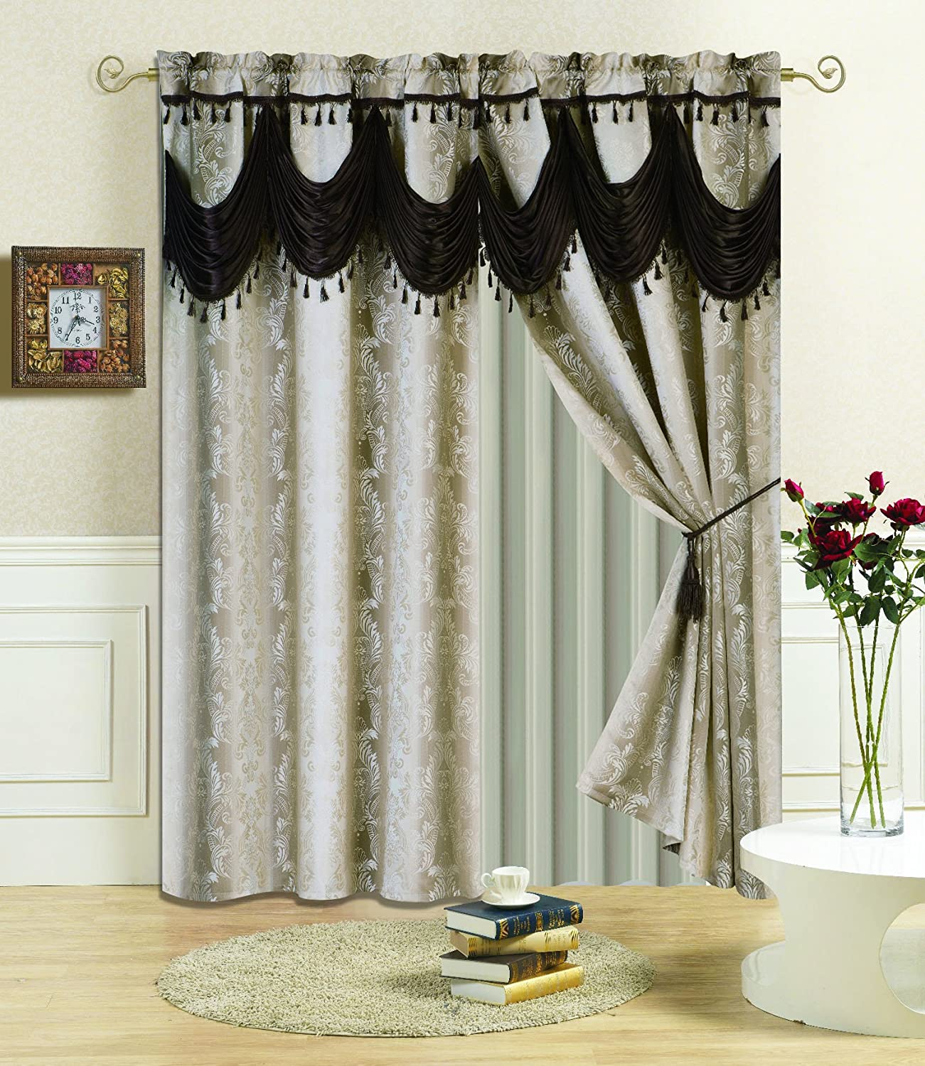 All American Collection New 4 Piece Beige Drape Set with Attached Coffee Valance and Sheer with 2 Tie Backs Included