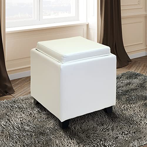 Armen Living Rainbow Ottoman in White Bonded Leather and Black Wood Finish