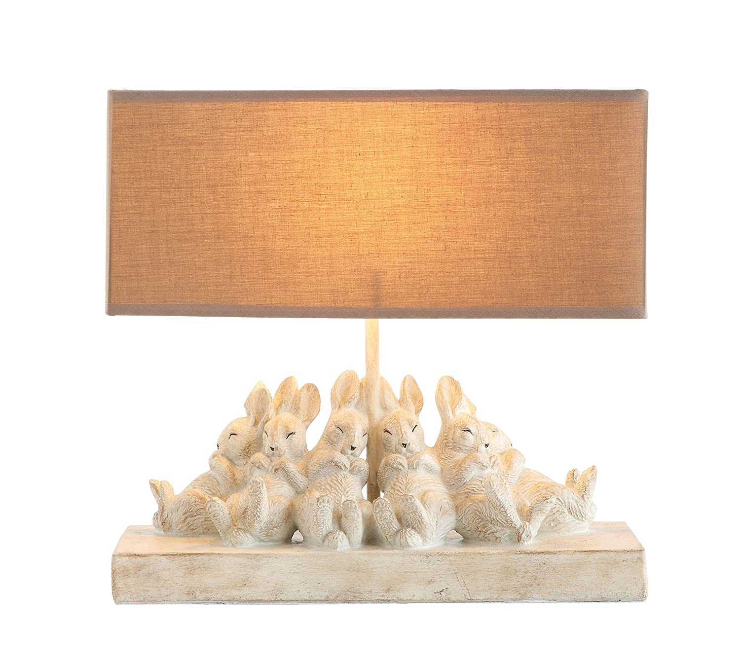 "Creative Co-op Whitewashed Rabbit Table Lamp with Sand-Colored Linen Shade, 14"" L x 5.5"" W x 13"" H,"