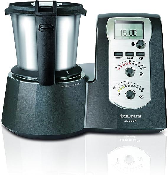Taurus Mycook Legend - Robot de Cocina por Inducción de 40 a 120º C, analogico, incluye un recetario impreso con 250 recetas riquísimas, 1600 W, Negro: Amazon.es: Hogar