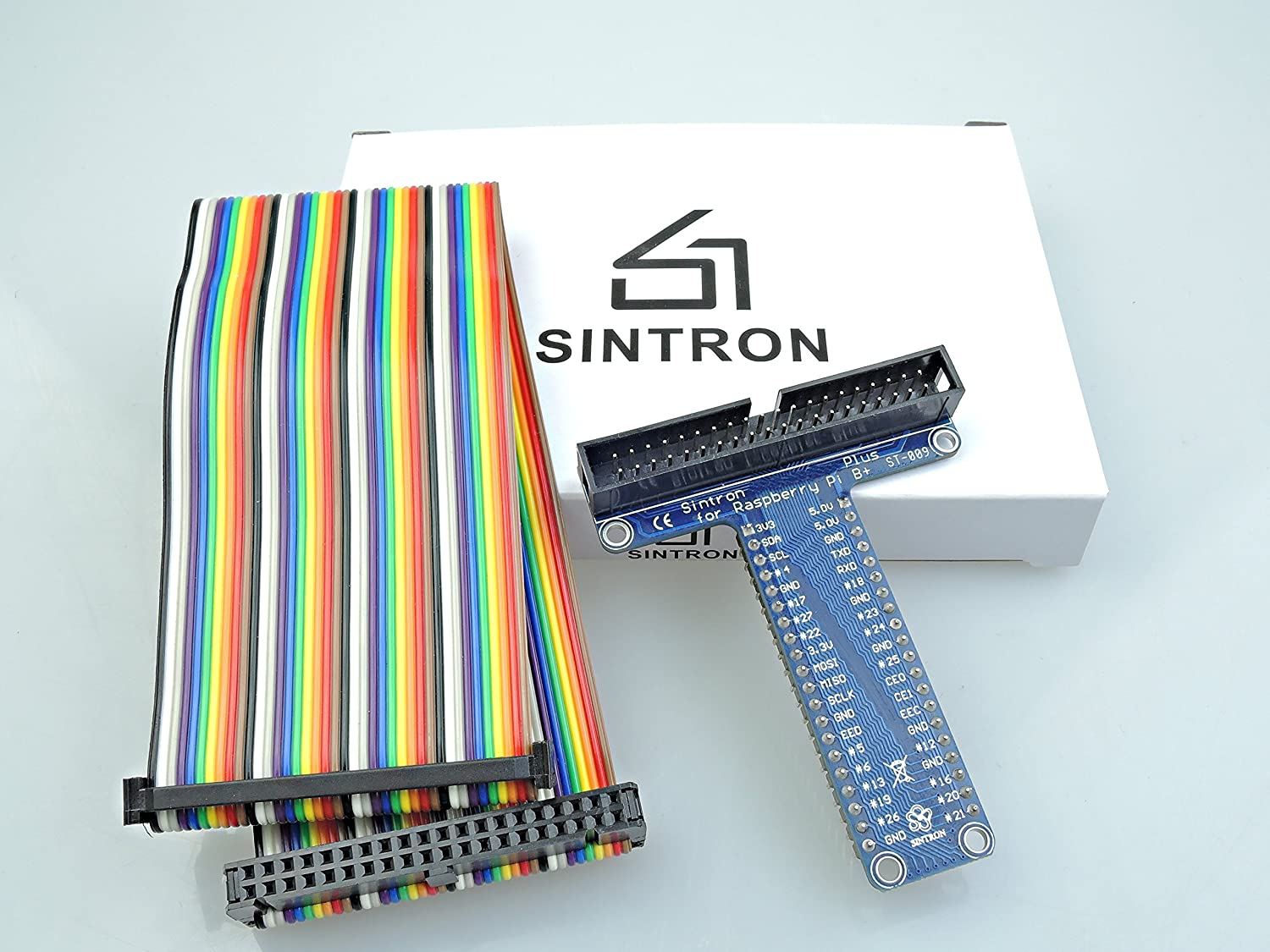 Sintron Pi 3 Model B and Pi Zero 40 Pin GPIO Extension Board with 40 Pin Rainbow Color Ribbon Cable for Raspberry Pi 1 Models A+ and B+ Pi 2 Model B