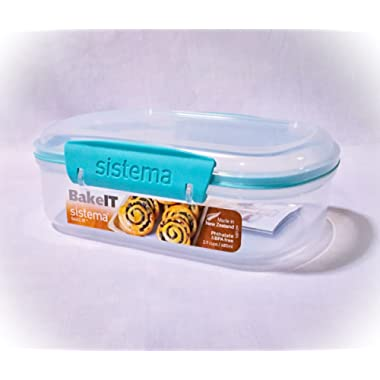 Sistema Bake It Food Storage for Baking Ingredients, Toppings Container, 2.9 Cups, Clear with Aqua Accents