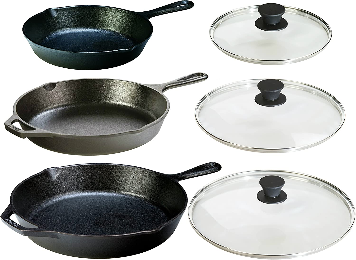 Three Sets of Cast Iron Skillets with Tempered Glass Lids_