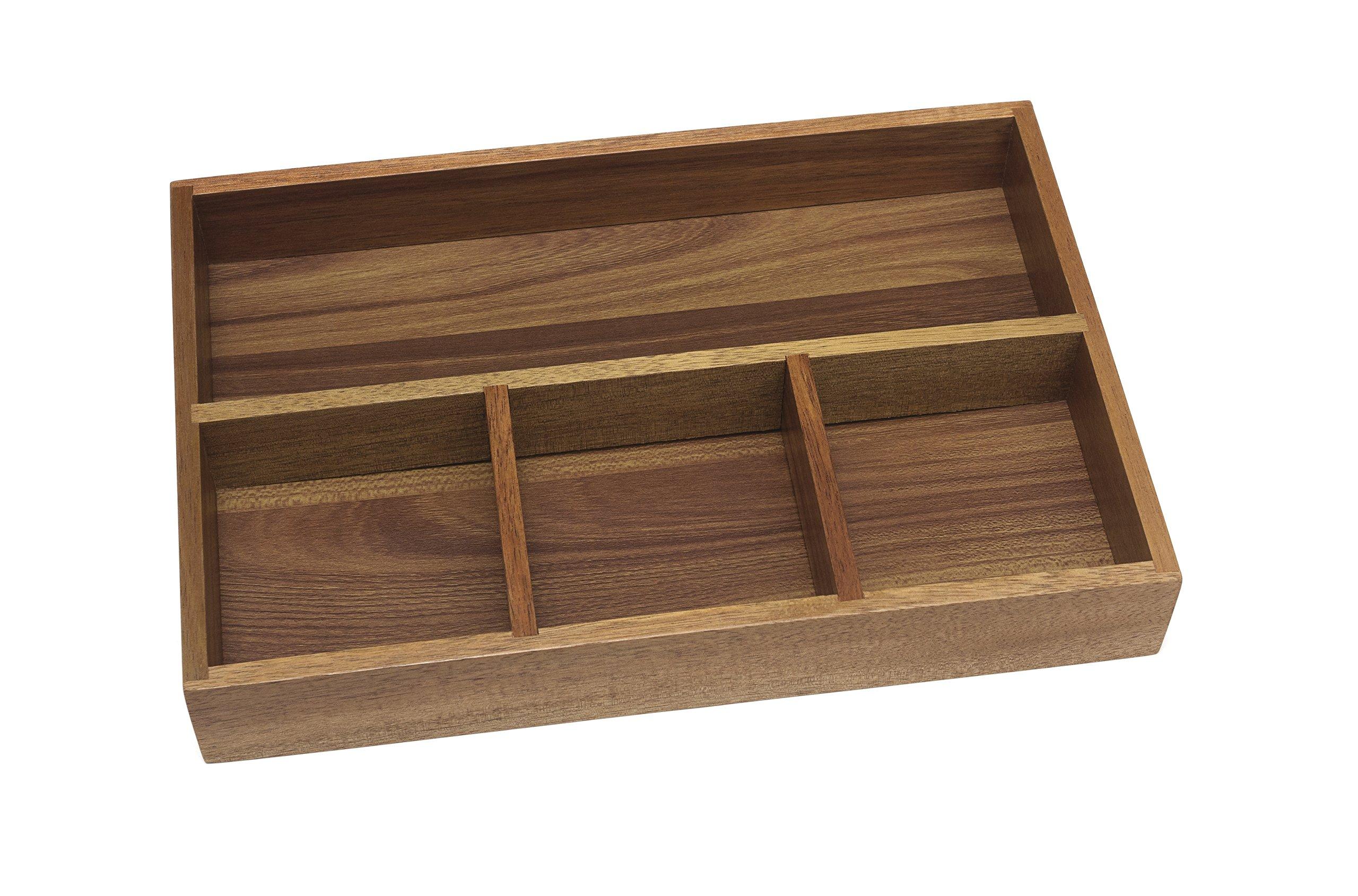 Lipper International 1124 Acacia Organizer Tray, 4-Compartments, 12'' x 8'' x 1 3/4''