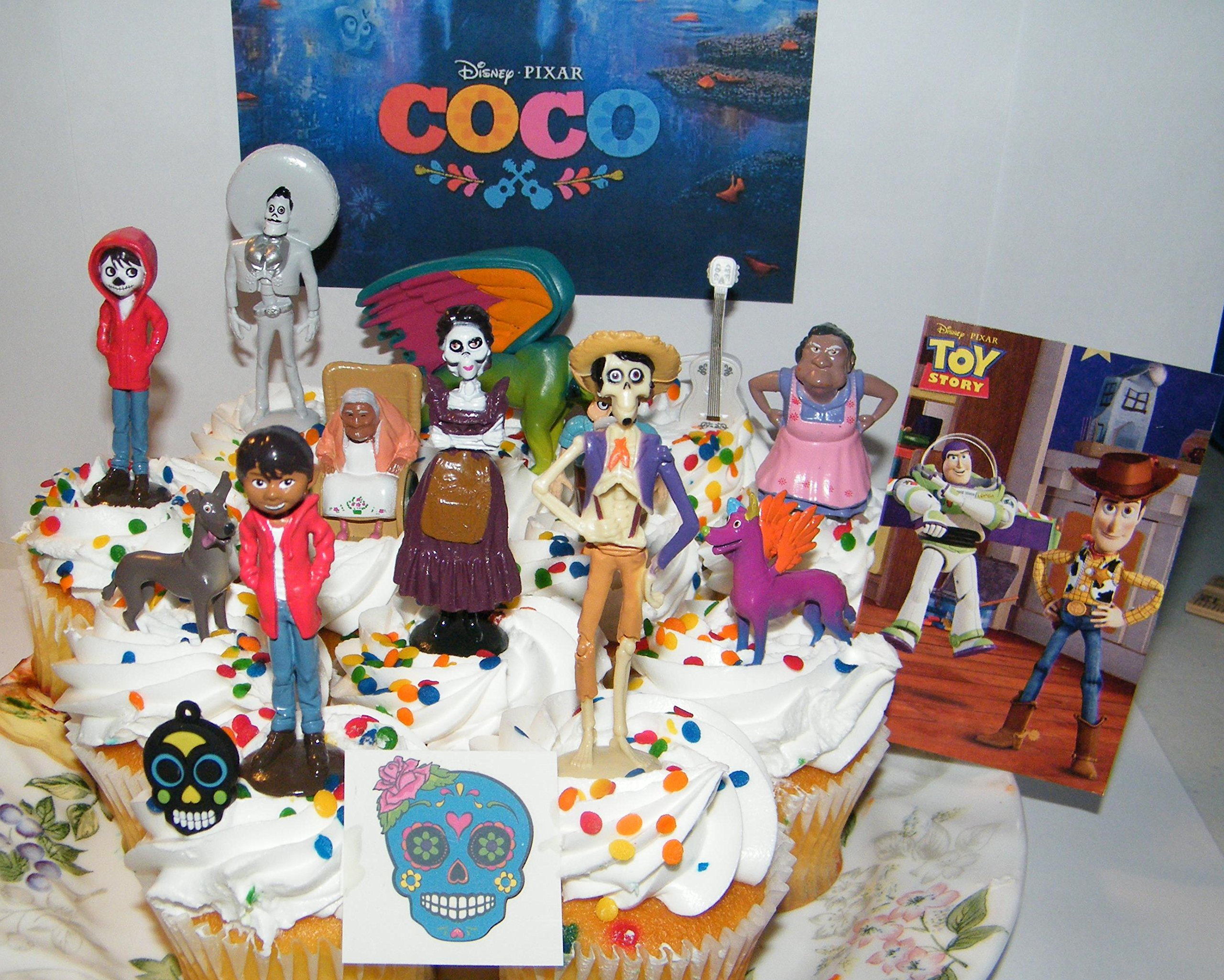 Disney Coco Movie Deluxe Cake Toppers Cupcake Decorations Set of 15 with 12 Figures, Charm, Tattoo and Sticker featuring Miguel, Mama Imelda, Spirit Guide and More! by B.B. Inc
