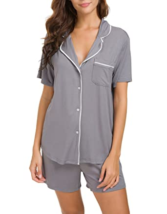 d6756646e9 Invug Women Short Sleeve Nightwear Shirts Shorts Pajama Set Sleepwear  Loungewear Grey S