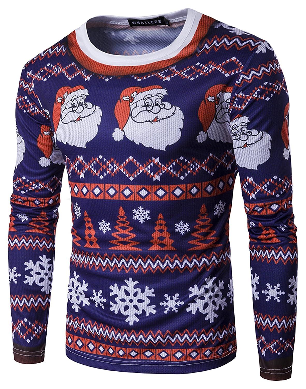 WHATLEES Unisex langärmliges Weihnachtsshirt Christmas T-Shirt mit 3D Druckmuster
