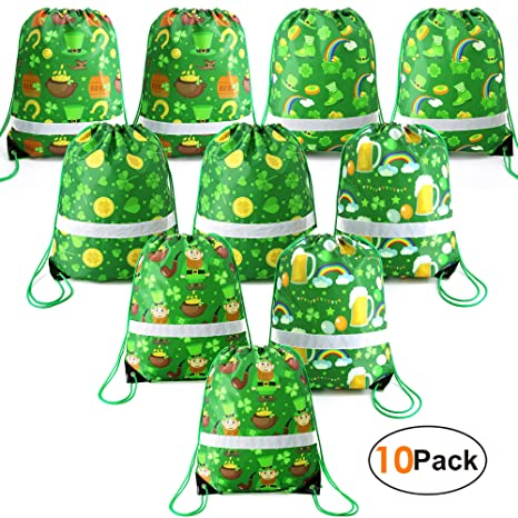 7c32c30b Amazon.com: St Patrick's Day-Gift-Bags-Drawstring-Bag Backpacks Party  Supplies Favors Bags for Goody Candy Treat 10 Pack: beegreenbags
