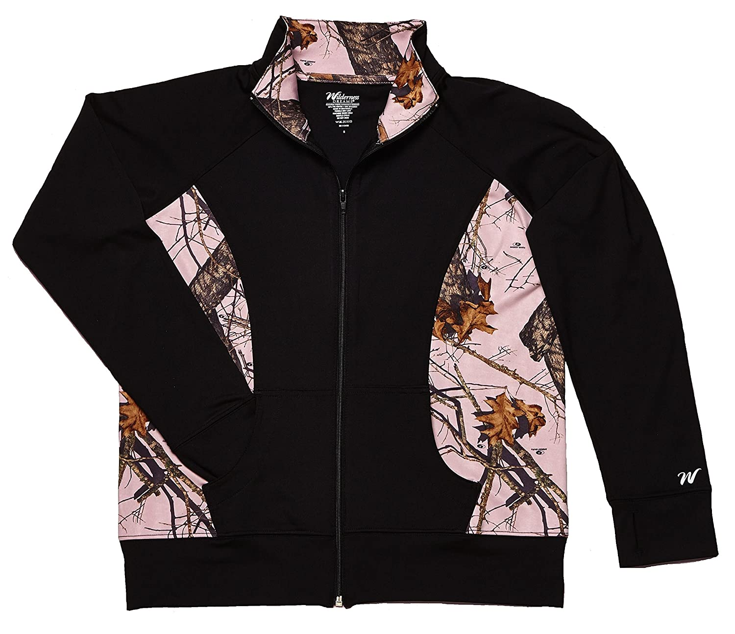 2cc67fcd58c Amazon.com  WD Womens Activewear Black Jacket with Pink Mossy Oak  Camouflage Accents  Clothing