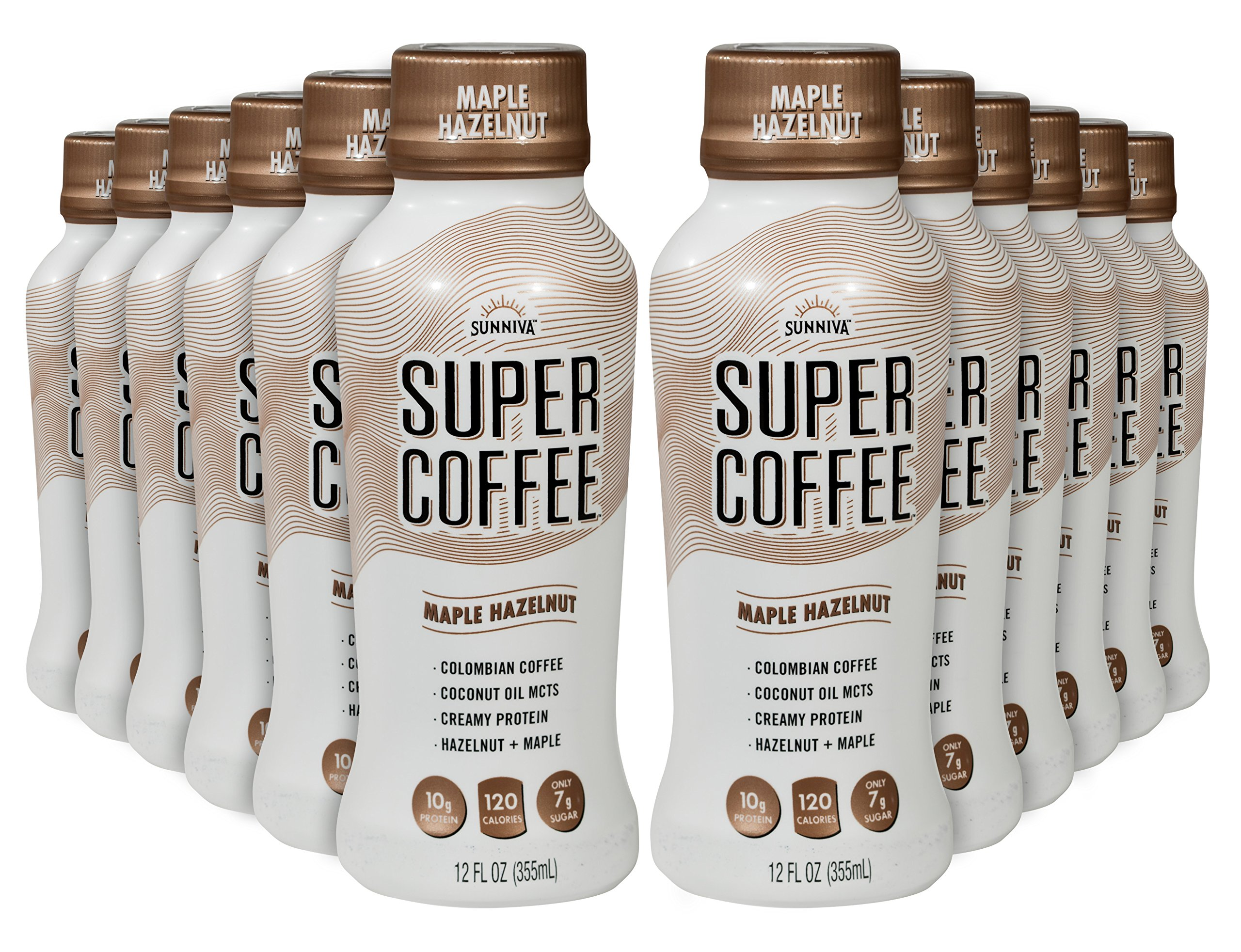 SUNNIVA Super Coffee Maple Hazelnut - 10g Protein, Lactose Free, Soy Free, No Added Sugar, Gluten Free, Pack of 12
