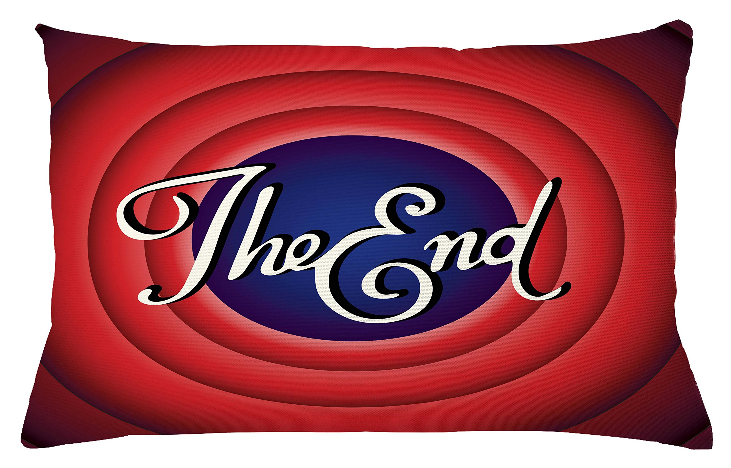 Lunarable 1950s Throw Pillow Cushion Cover, Movie Ending Screen Academy Dated Broadcast Entertainment Show Oscar Cinema, Decorative Square Accent Pillow Case, 26 X 16 Inches, Coral Royal Blue