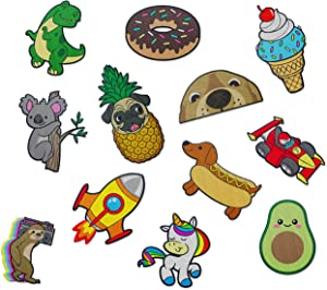 Cute Iron On Patches for Kids - by The Carefree Bee | Set of 12 Sewable Embroidery Patches | Small Fun Iron On Patches for Clothes and Backpacks | Iron On Decals for Jean Jacket Patches (Set 3)