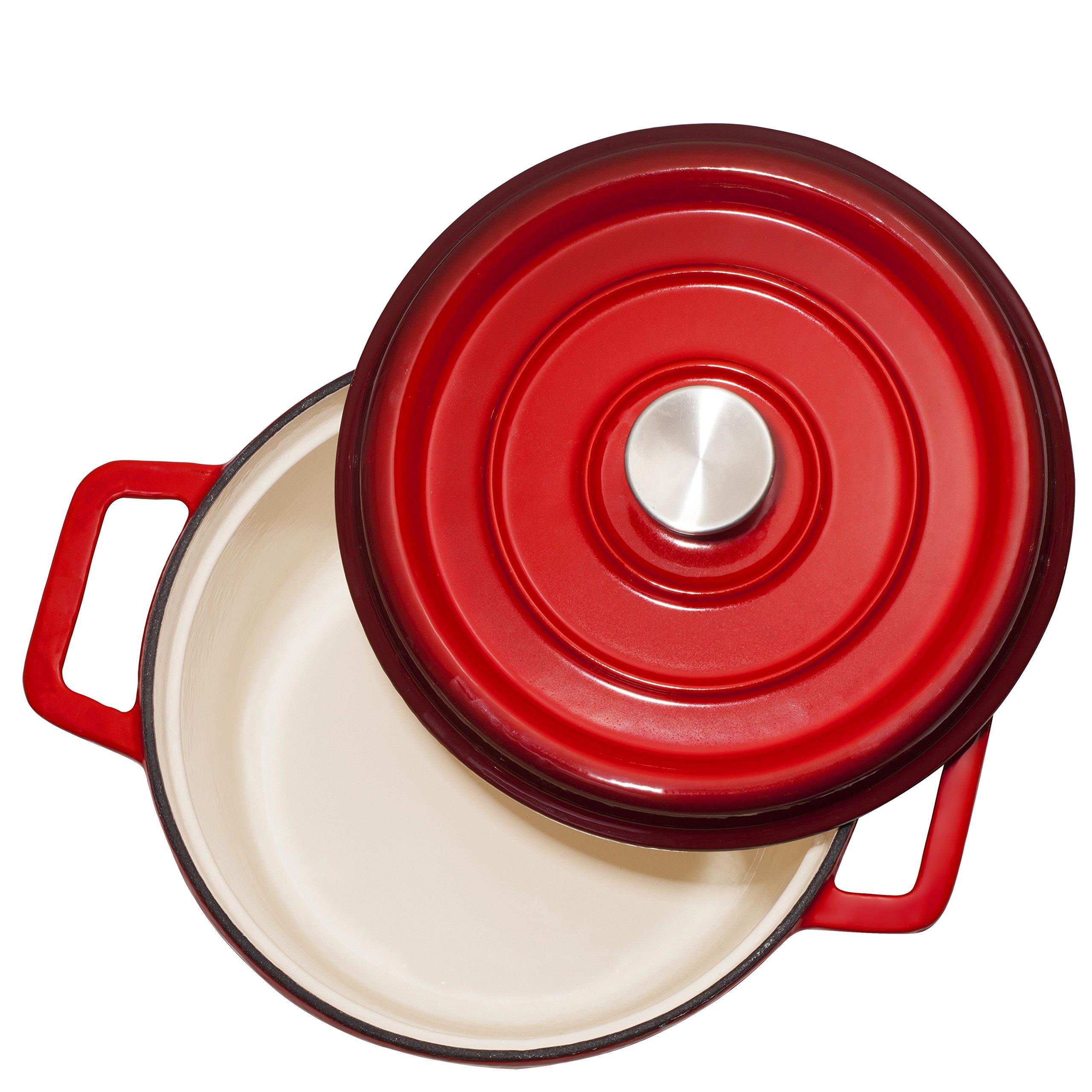 Bruntmor, Enameled Cast Iron Dutch Oven Casserole Dish 6.5 quart Large Loop Handles & Self-Basting Condensation Ridges On Lid (Fire Red) by Bruntmor (Image #2)