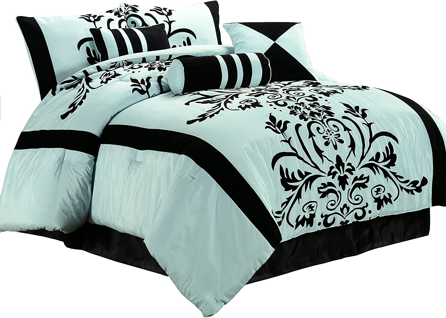 Chezmoi Collection 7-Piece White with Black Floral Flocking Comforter Set...
