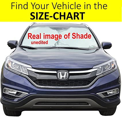 Windshield Sun Shade SUV Car Size Chart with Your Vehicle Universal Quality-210T Keep Vehicle Accessories Cool UV Sun and Heat Reflector Sunshades Medium