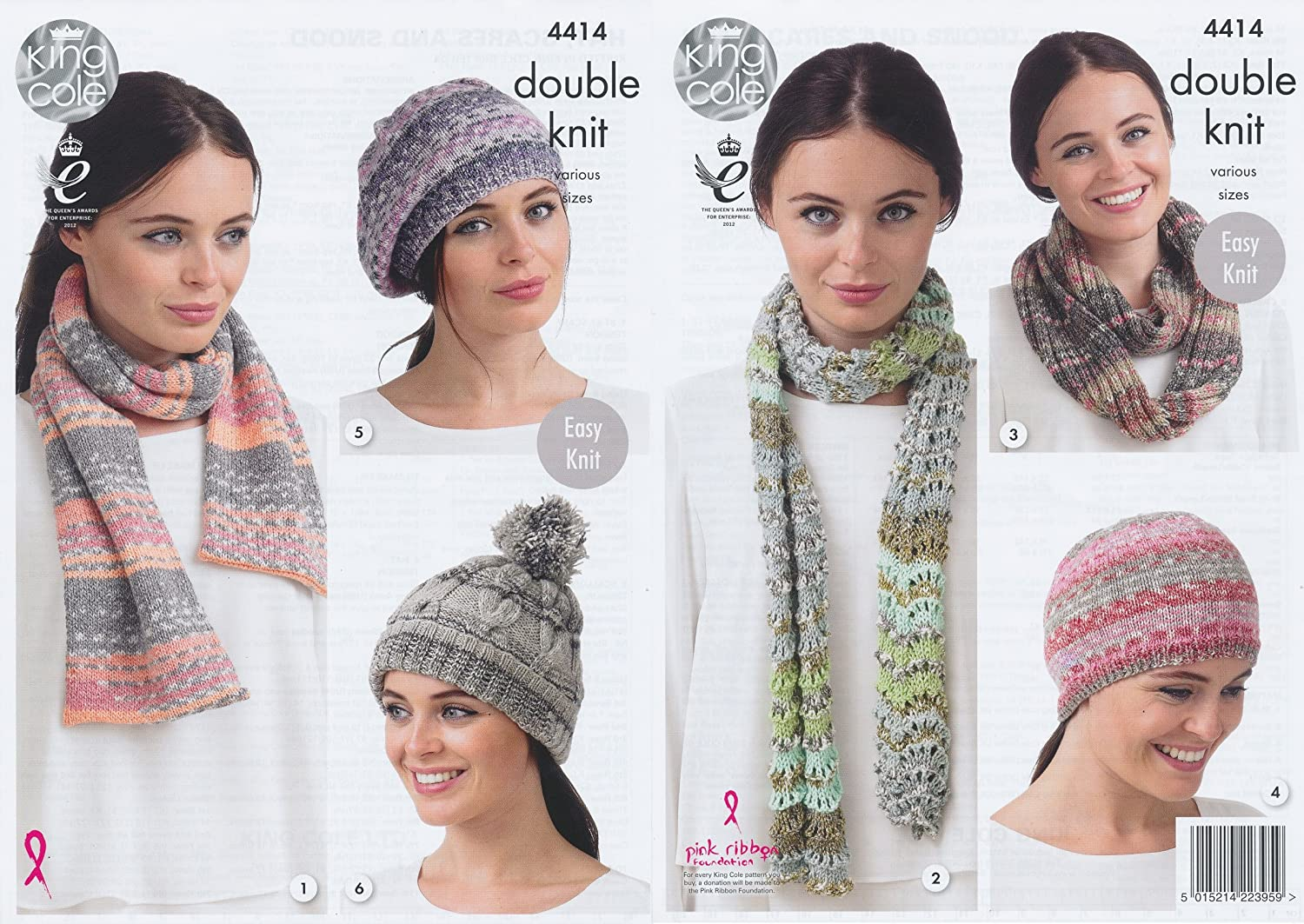 King Cole Ladies Double Knitting Pattern Womens Accessories - Hat Scarves & Snood Drifter DK (4414) by King Cole