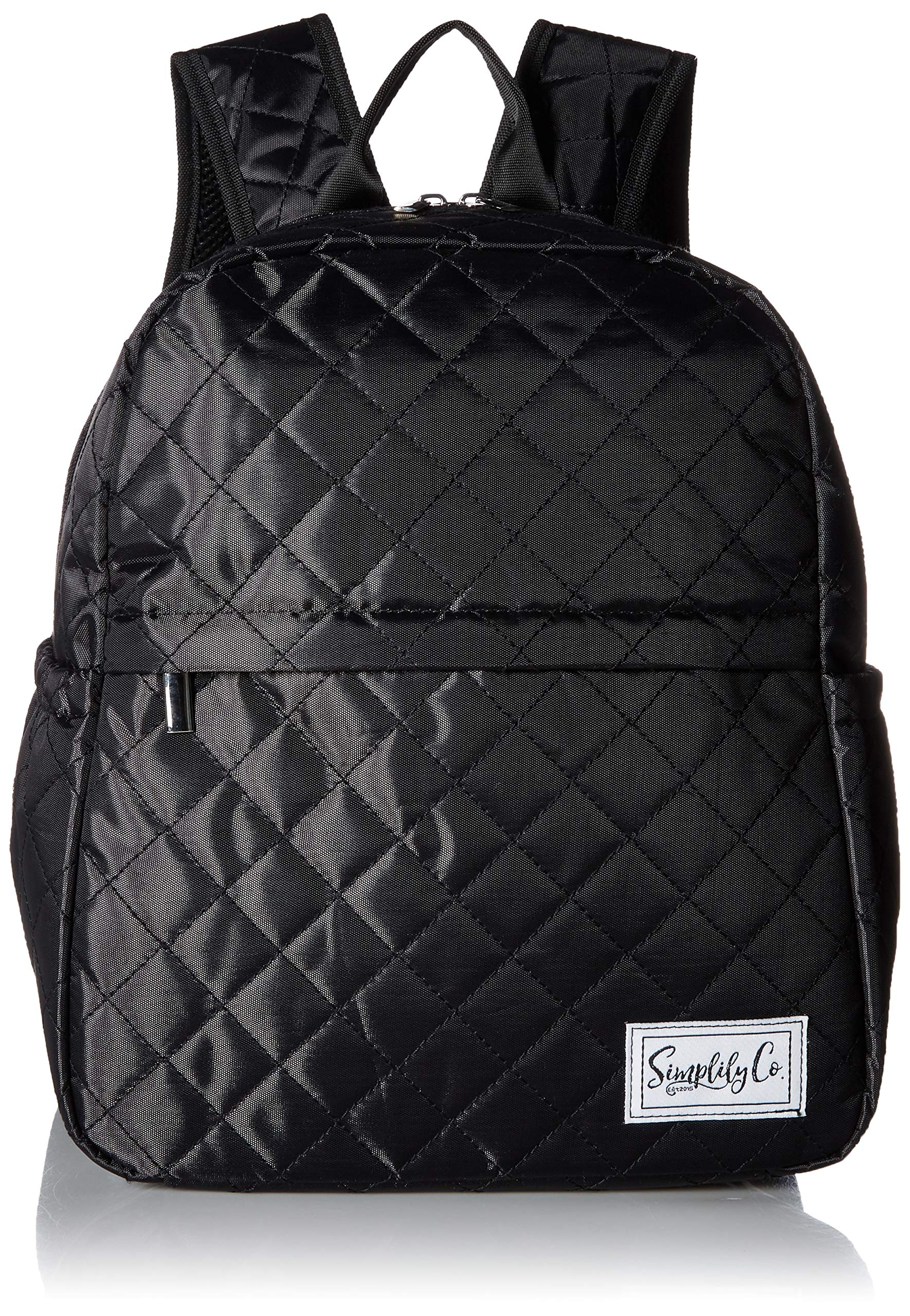 Insulated Mini Backpack Lunch Bag w/Padded Straps & Drink Side Pockets (Black Quilted)