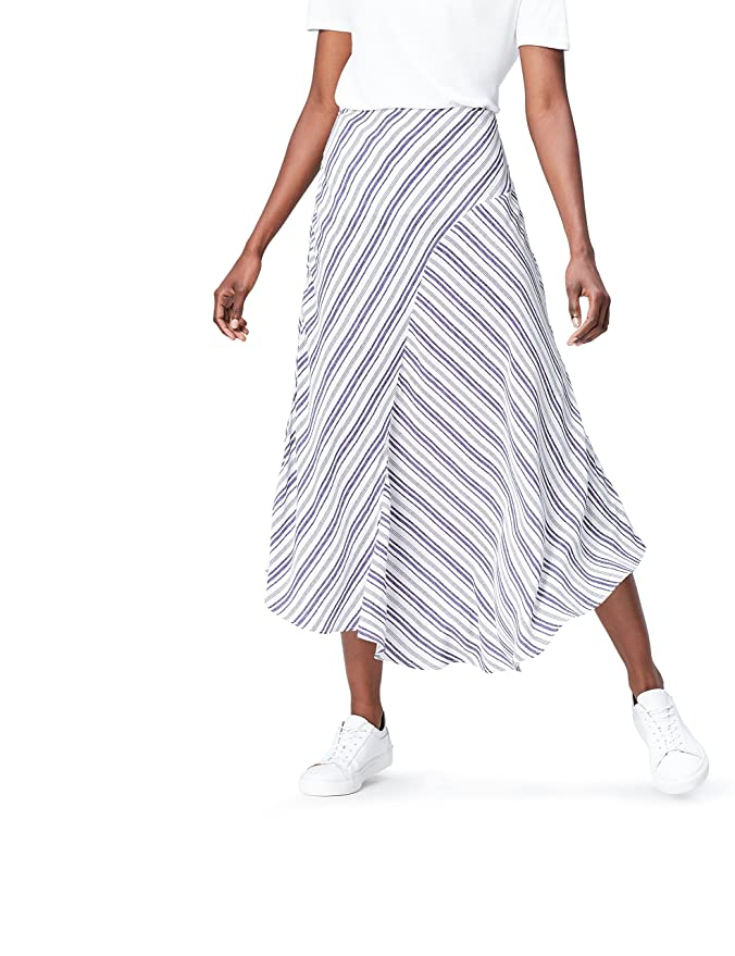 find. Stripe Asymmetric Falda para Mujer, Azul (Blue/white), 42 ...