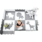 Wee Giggles Large Baby Play Mat with Fence | Non Toxic Infant and Toddler Play Mat | Infant Floor Mat for Play Therapy | Grey and White | 5 x 7 ft
