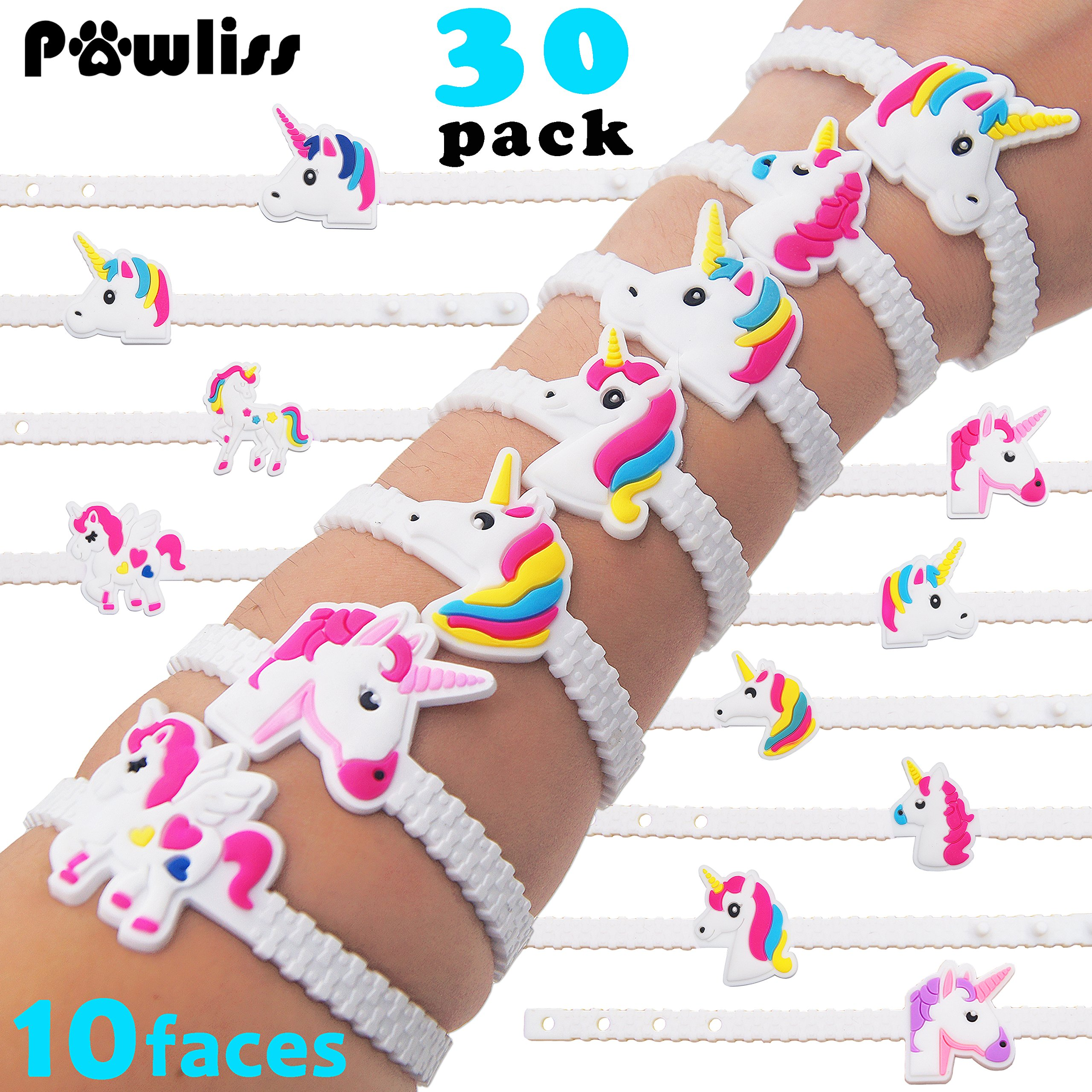 Pawliss Emoji Bracelets Wristband, Unicorn Birthday Party Favors Supplies for Kids Girls, Emoticon Toys Prizes Gifts, Rubber Band Bracelet 30 Pack