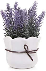 MyGift Artificial Lavender w/White Ceramic Pot/Decorative Faux Flower Planter, 7 Inch