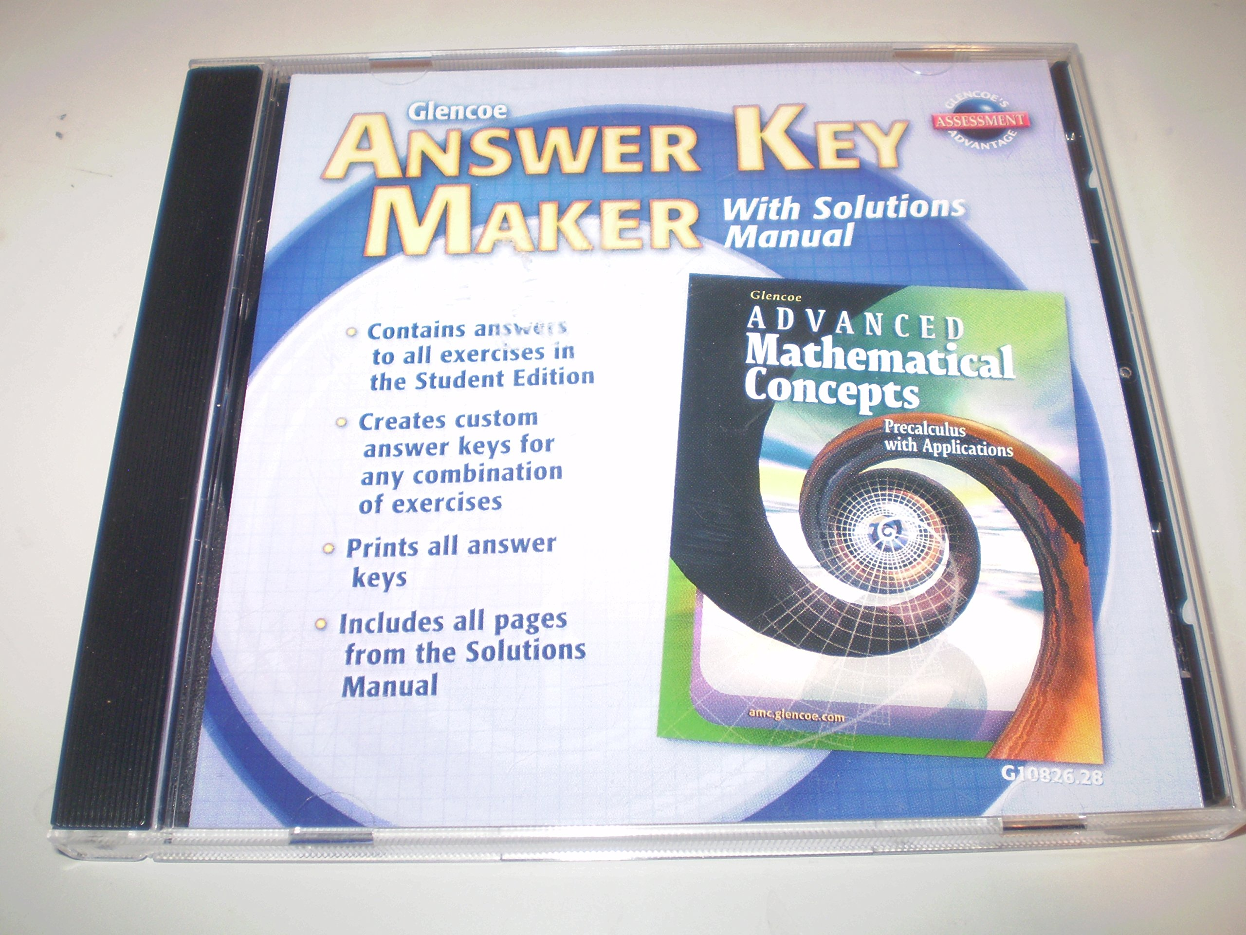 Answer Key Maker (Glencoe Advanced Mathematical Concepts: Precalculus with  Applications): Various: 9780078610820: Amazon.com: Books