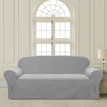 Comfy Bedding Microsuede Sofa Furniture Slipcover With Elastic Straps Under  Seat Cushion (Sofa, Light