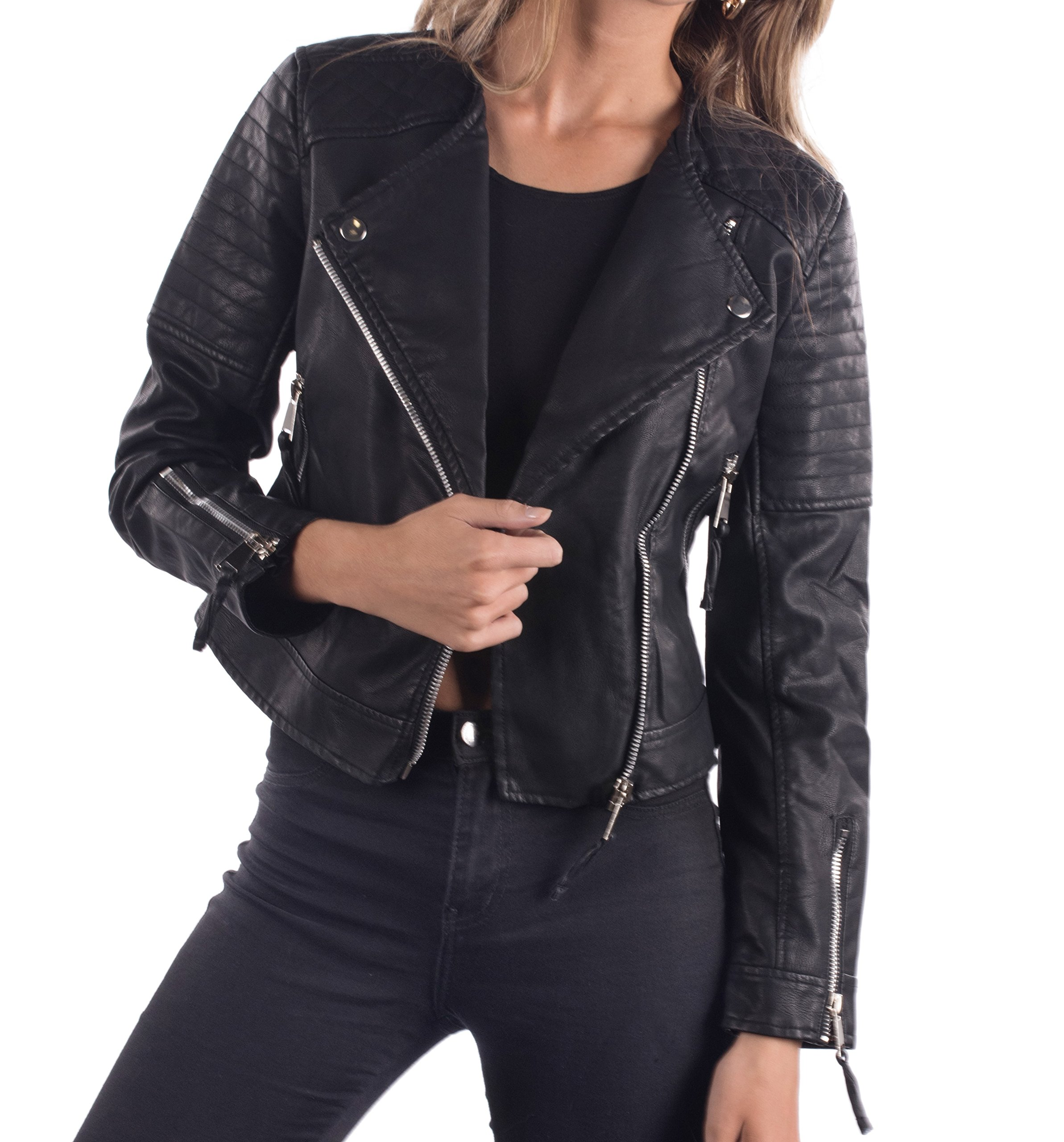 Philomena Petti Ladies Faux Leather Motorcycle Jacket, Womens PU Riding Biker Jacket With Padded Shoulders,Black - No Collar & Padded Shoulders,Large by Philomena Petti