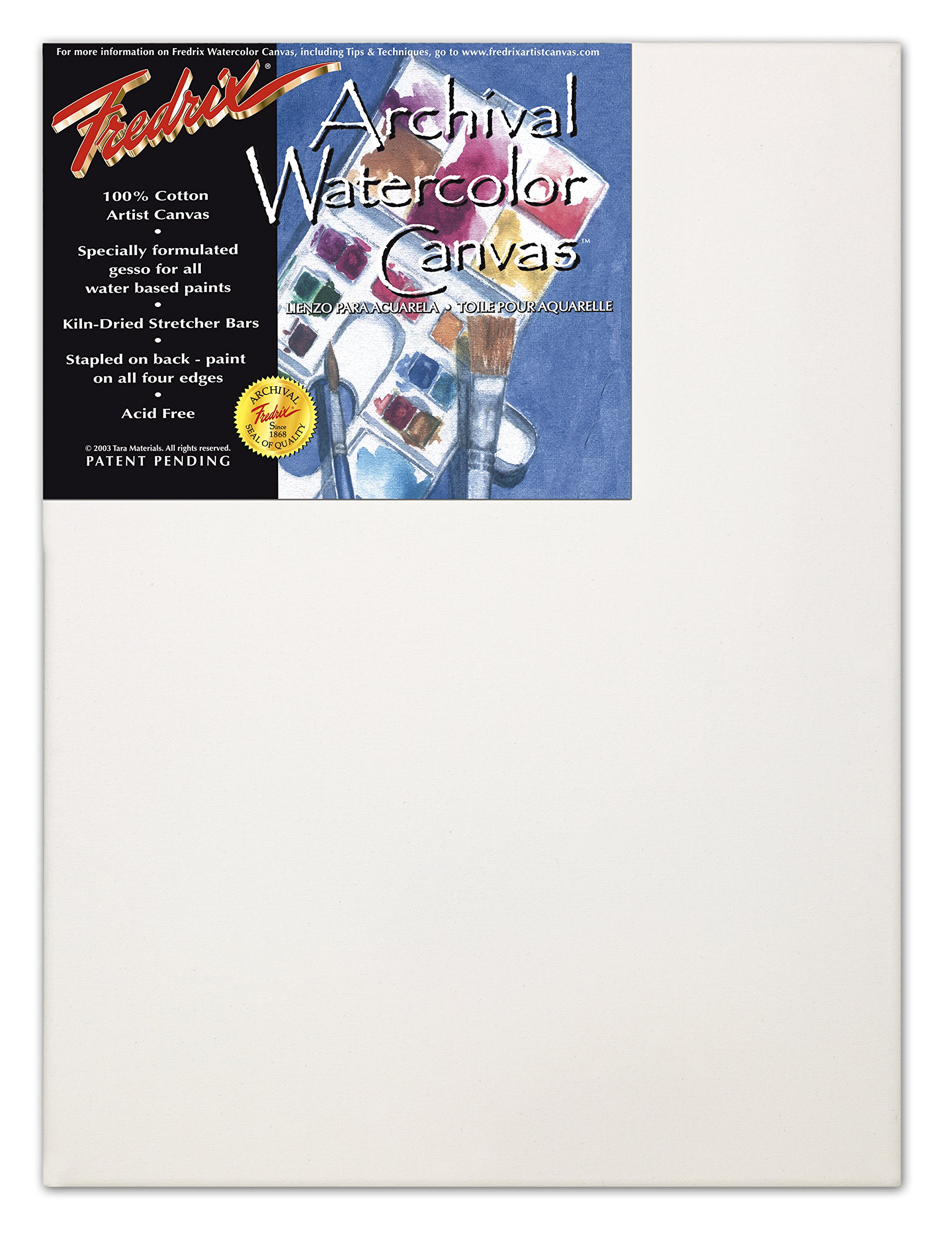 Fredrix 5534 12 by 16-Inch Stretched Watercolor Canvas
