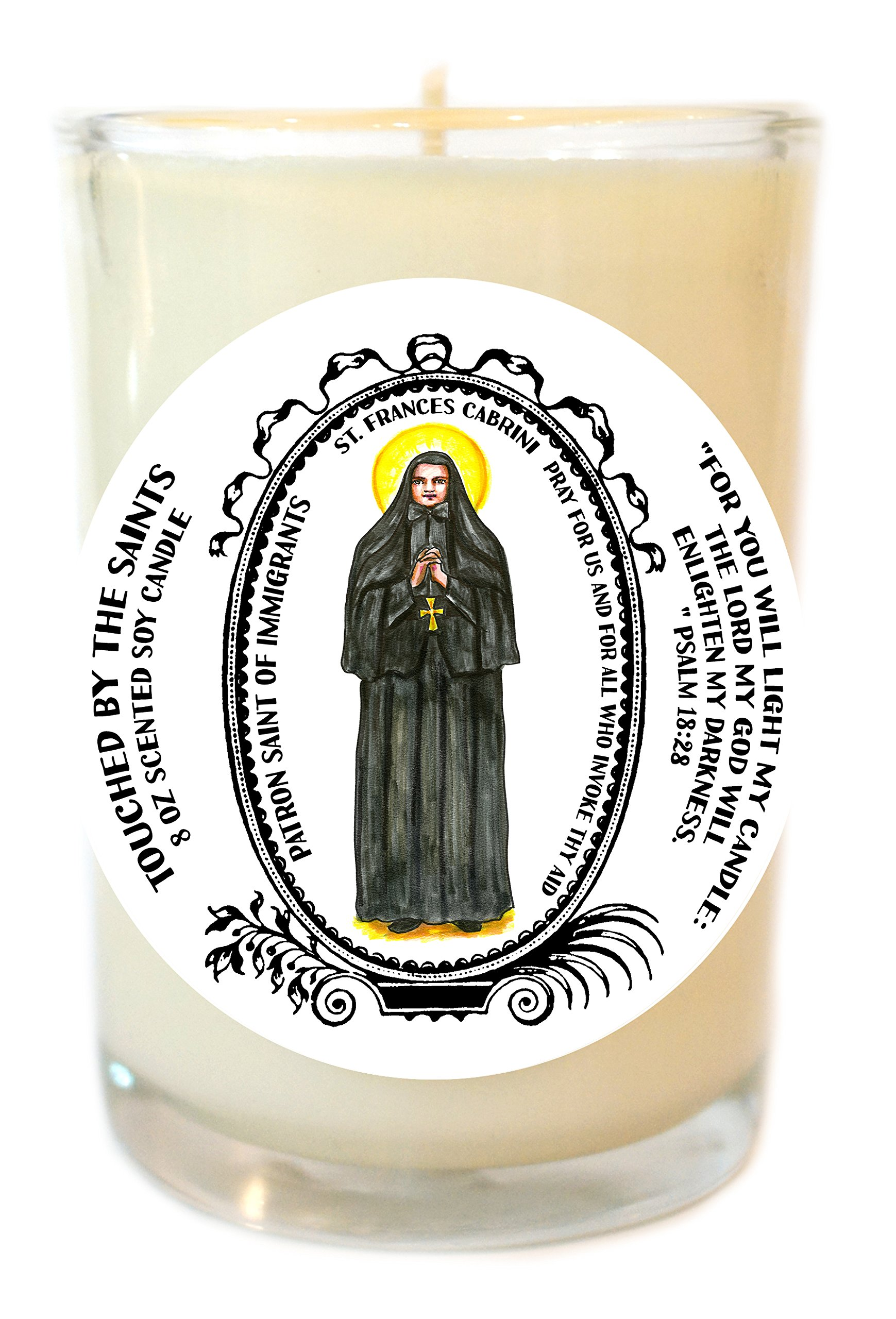 St Frances Cabrini Patron of Immigrants 8 Oz Scented Soy Glass Prayer Candle