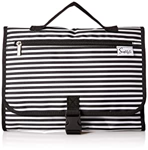 Simplily Co. Hanging Stackable Travel Toiletry Make-up Undergarments Tiddy Organizer Roll-up Bag (Black & White Stripes)