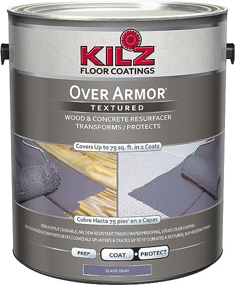Kilz Over Armor Textured Wood Concrete Coating 1 Gallon Slate