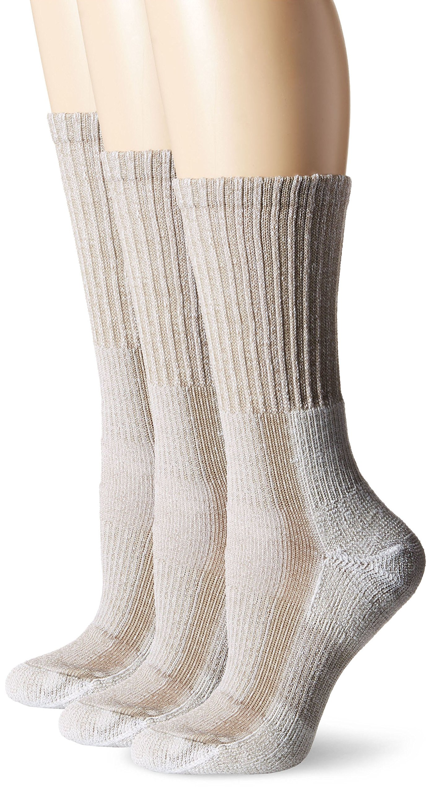 Thorlos Women's  LTHW Light Hiking Thick Padded Crew Sock, Tan (3 Pack), Large by thorlos