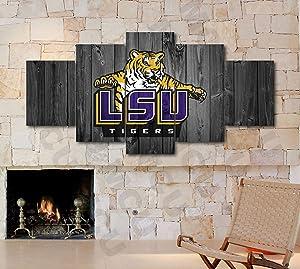 5 Piece American Football College University Teams Art Decor Wall Poster (5 Piece Medium, LSU Tigers Block)