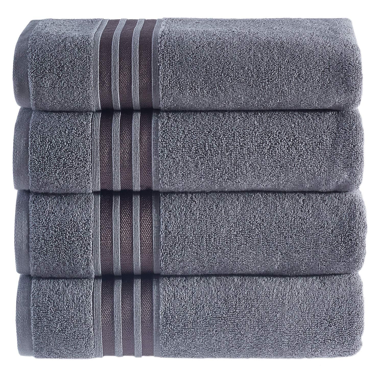 Hammam Linen Ultra Soft Turkish Bath Towels - (27 x 54 inches) - 4 Pieces Towel Set - 100% Cotton Towels (Cool Grey)