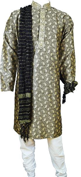 Para hombre Jacquard Gris Kurta Pijama Salwar Kameez Sherwani indio Outfit Multicolor gris