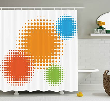 Ambesonne Orange Shower Curtain Colorful Half Tone Circles With Spots On White Background Retro Design