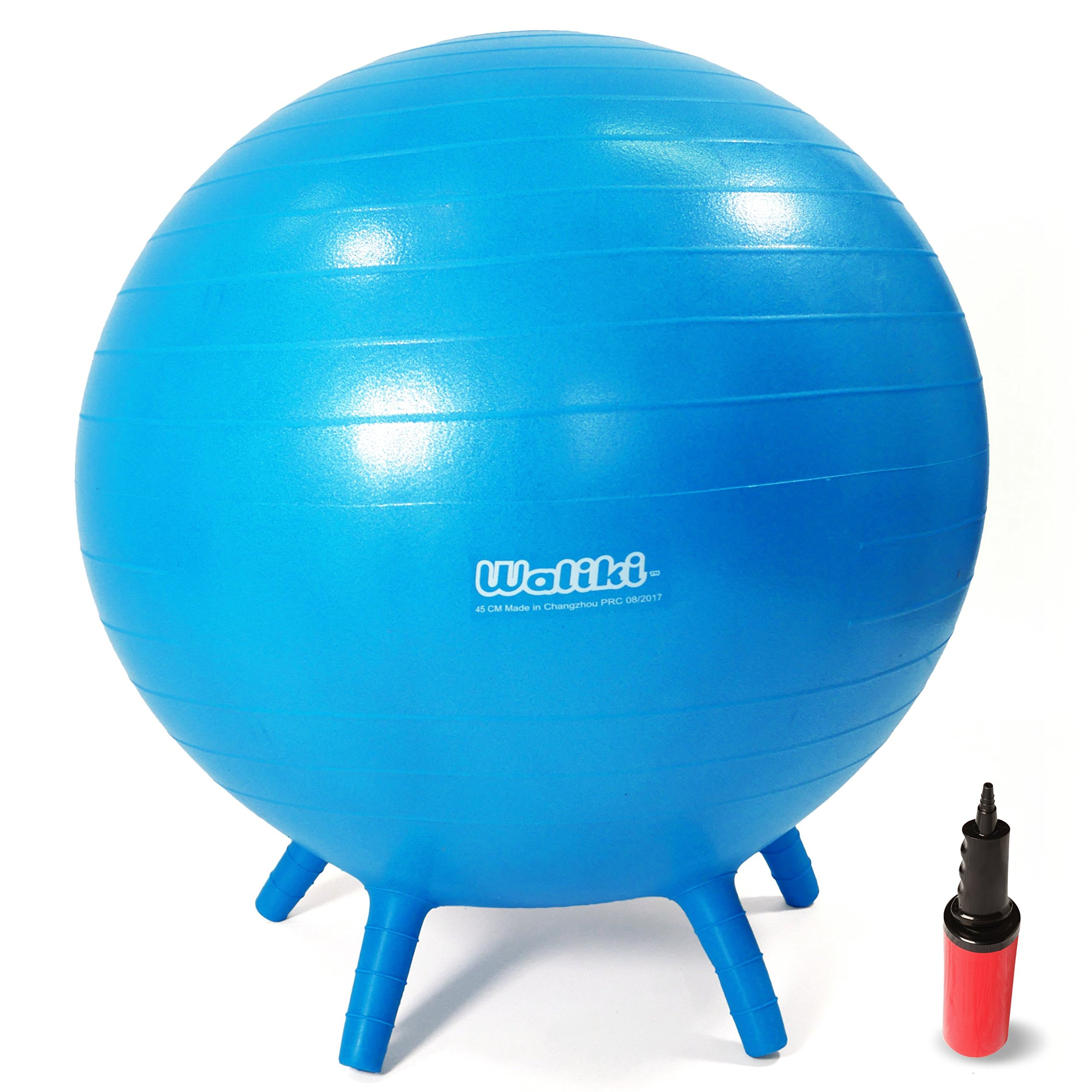 WALIKI TOYS Children's Chair Ball with Feet, Alternative Classroom Seating (Inflatable Balance Ball Chair With Stability Legs for School, Pump Included, 20''/50CM, Blue)