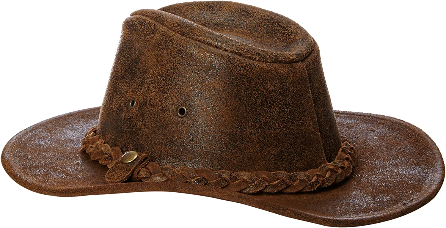 Henschel Mens Outback Crushable Full Grain Distressed Leather Hat